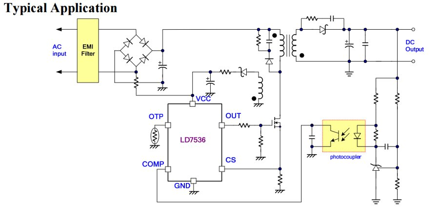 LD7536 - Green-Mode PWM Controller with Frequency Swapping and Integrated Protections