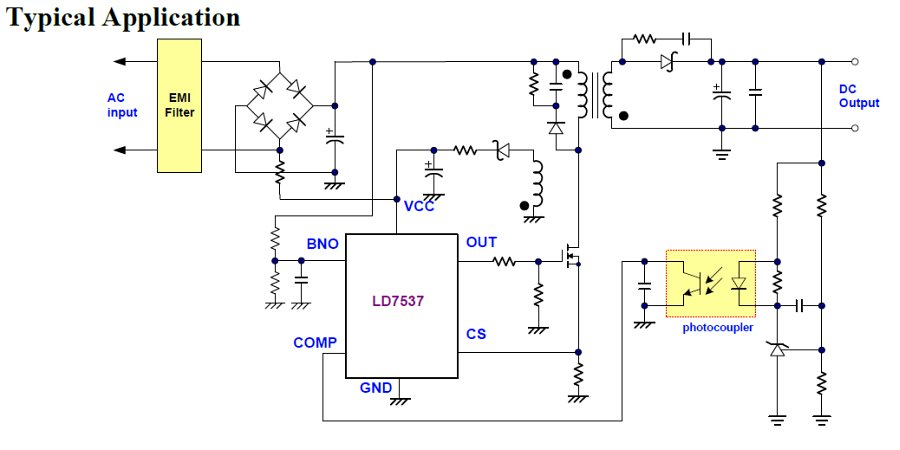 LD7537 - Green-Mode PWM Controller with Frequency Swapping and Integrated Protections